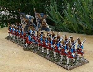 My take on the Erbprinz regiment - the regiment on the dust cover of 'Charge, or how to play wargmes'. Everybody should have an Erbprinz regiment. I waited forty five years for mine. 30mm metal Spencer Smith figures from the WAS range.